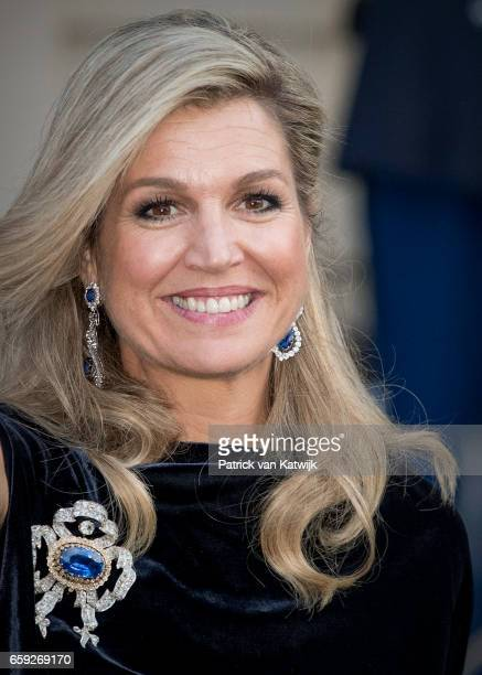 Queen Maxima of The Netherlands after the ballet performance offered by the President of Argentie at theater Dilligentia on March 28 2017 in The...