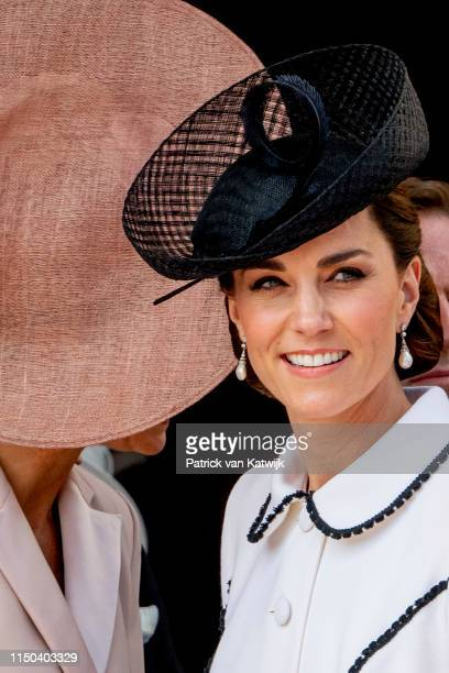 Queen Maxima of The Netherlands and Catherine Duchess of Cambridge at St George's Chapel on June 17 2019 in Windsor England