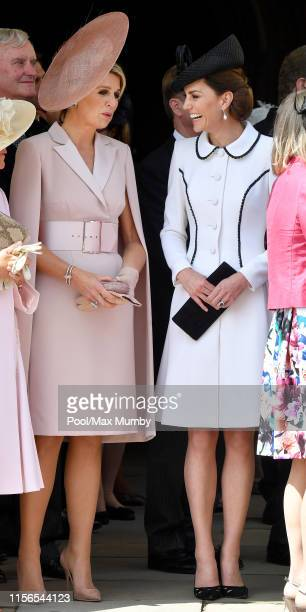 Queen Maxima of the Netherlands and Catherine, Duchess of Cambridge attend the Order of the Garter service at St George's Chapel on June 17, 2019 in...