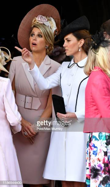 Queen Maxima of the Netherlands and Catherine Duchess of Cambridge attend the Order of the Garter service at St George's Chapel on June 17 2019 in...