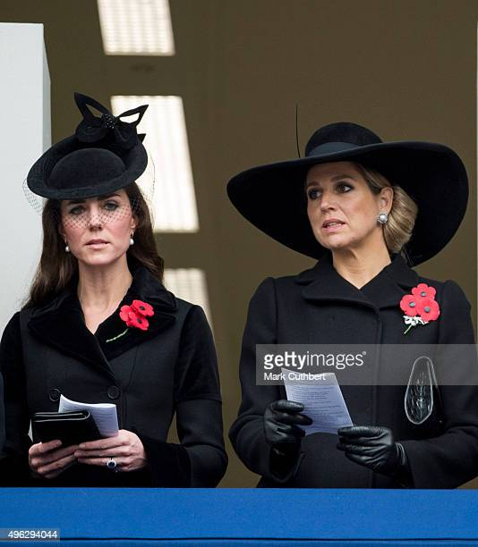Queen Maxima of the Netherlands and Catherine Duchess of Cambridge attend the annual Remembrance Sunday Service at the Cenotaph on Whitehall at The...