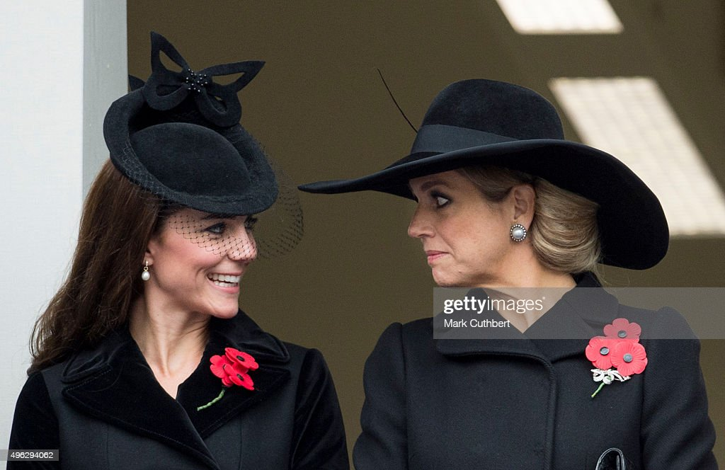 Queen Maxima of the Netherlands and Catherine, Duchess of Cambridge attend the annual Remembrance Sunday Service at the Cenotaph on Whitehall at The Cenotaph on November 8, 2015 in London, England. The National Service of Remembrance takes place at the Cenotaph in Whitehall, London. The Queen, senior politicians, including the British Prime Minister and former British Prime Ministers, alongside representatives from the armed forces pay tribute to those who have suffered or died at war.