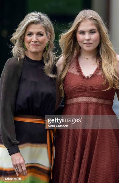Queen Maxima of the Netherlands and Crown Princess Catharina-Amalia of the Netherlands at Huis ten Bosch Palace on July 19, 2019 in The Hague,...