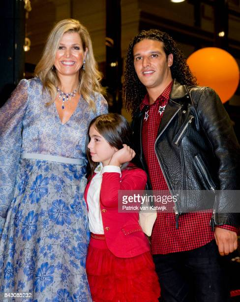 Queen Maxima of The Netherlands and Dutch rapper Ali B attends the benefit gala dinner for the Princess Maxima Center for childrenÕs oncology in the...