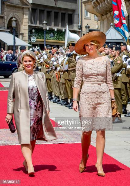Queen Maxima of The Netherlands and Grand Duchess Maria Teresa of Luxembourg during an official farewell ceremony at the Grand Ducal Palace of...