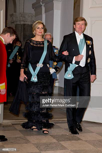 Queen Maxima of the Netherlands and King Willem Alexander of the Netherlands attend a Gala Dinner at Christiansborg Palace on the eve of the 75th...