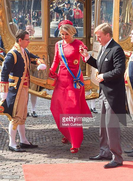 Queen Maxima of the Netherlands and King WillemAlexander of the Netherlands arrive at The Binninhof during Princes day celebrations on September 16...
