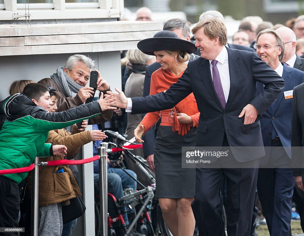 Queen Maxima of The Netherlands and King Willem-Alexander of The Netherlands visit Stenden College on February 17, 2015 in Emmen, The Netherlands. The royal couple paid a visit to the north east of the country