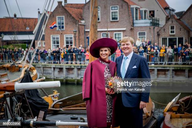 Queen Maxima of The Netherlands and King WillemAlexander of The Netherlands visit care and living center De Haven and museum harbor Spakenburg during...