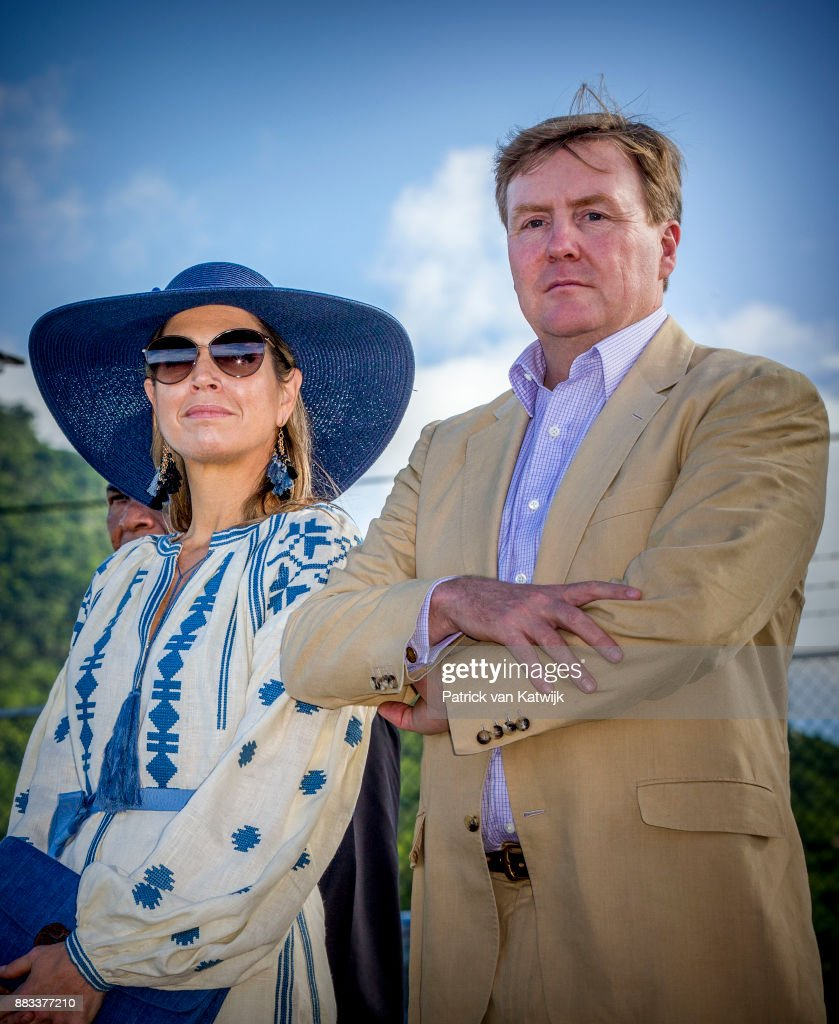 Queen Maxima of The Netherlands and King Willem-Alexander of The Netherlands visit Solar Park and the reconstruction of houses on November 30, 2017 in Oranjestad, Sint Eustatius. The King and Queen visit Sint Eustatius after Hurricane Irma damaged the island.