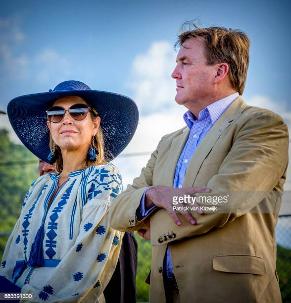 Queen Maxima of The Netherlands and King Willem-Alexander of The Netherlands visit Solar Park and the reconstruction of houses on November 30, 2017...