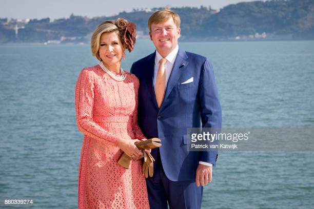 Queen Maxima of The Netherlands and King WillemAlexander of The Netherlands pose at the Taag on October 11 2017 in Lisboa CDP Portugal