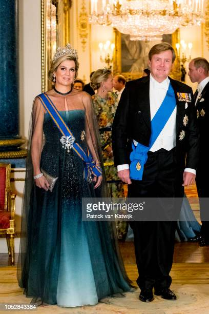 Queen Maxima of The Netherlands and King WillemAlexander of The Netherlands during the state banquet in Buckingham palace on October 23 2018 in...