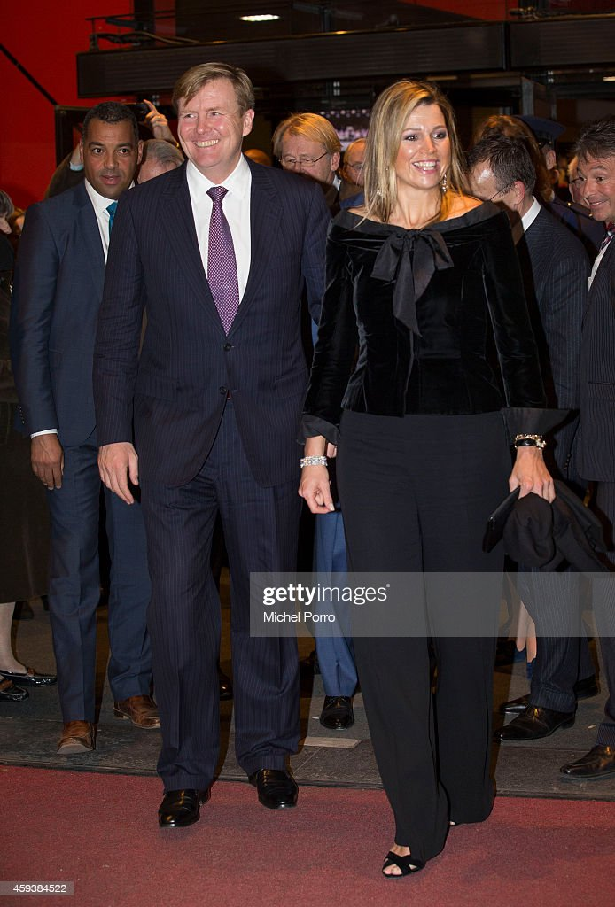 Queen Maxima of The Netherlands and King Willem-Alexander of The Netherlands leave the Residentie Orkest (Orchestra) 110th Anniversary on November 21, 2014 in The Hague, The Netherlands.