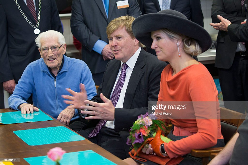 Queen Maxima of The Netherlands and King Willem-Alexander of The Netherlands visit the multi functional centre De Deele on February 17, 2015 in Emmer Compascuum, The Netherlands. The royal couple paid a visit to the north east of the country