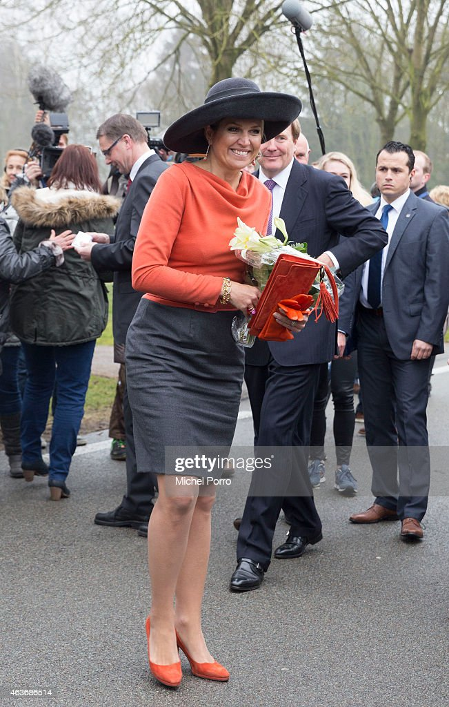 Queen Maxima of The Netherlands and King Willem-Alexander of The Netherlands visit the site where a windmill park is planned on February 17, 2015 in Tweede Exloermond, The Netherlands. The royal couple paid a visit to the north east of the country