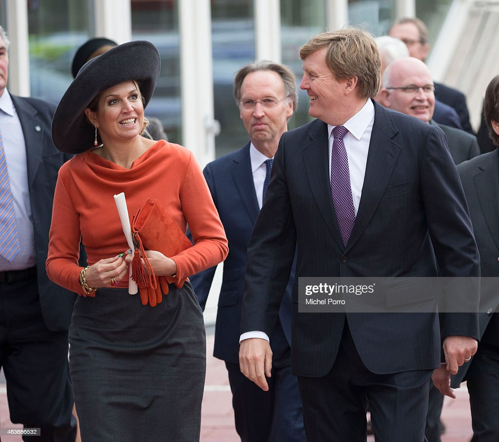 Queen Maxima of The Netherlands and King Willem-Alexander of The Netherlands visit the Stenden College on February 17, 2015 in Emmen, The Netherlands. The royal couple paid a visit to the north east of the country