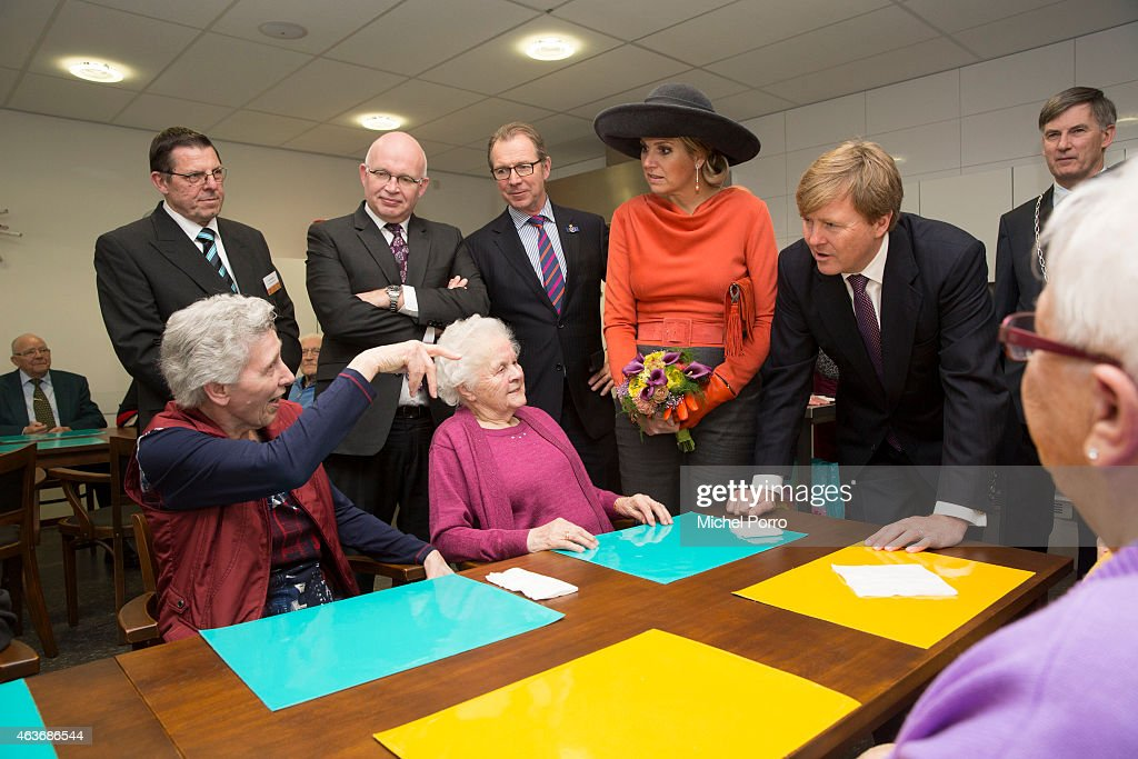 Queen Maxima of The Netherlands and King Willem-Alexander of The Netherlands visit the multi functional venue De Deele on February 17, 2015 in Emmer Compascuum, The Netherlands. The royal couple paid a visit to the north east of the country