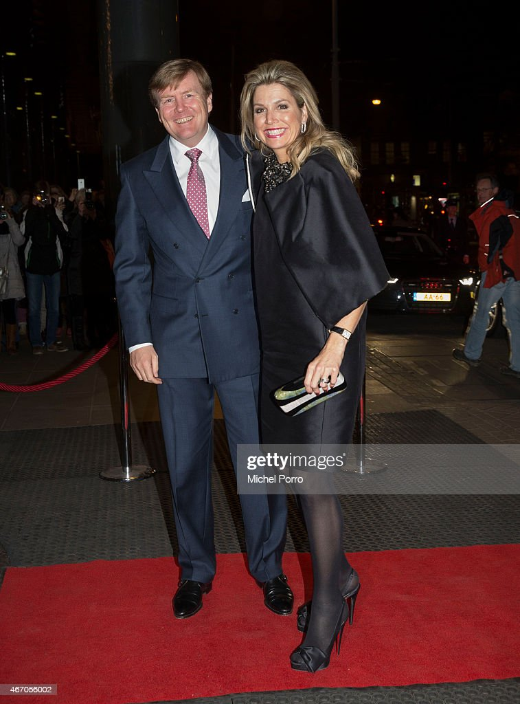 Queen Maxima of The Netherlands and King Willem-Alexander of The Netherlands arrive to attend the last concert by conductor Mariss Jansons at the Royal Concertgebouw Orchestra on March 20, 2015 in Amsterdam, The Netherlands.
