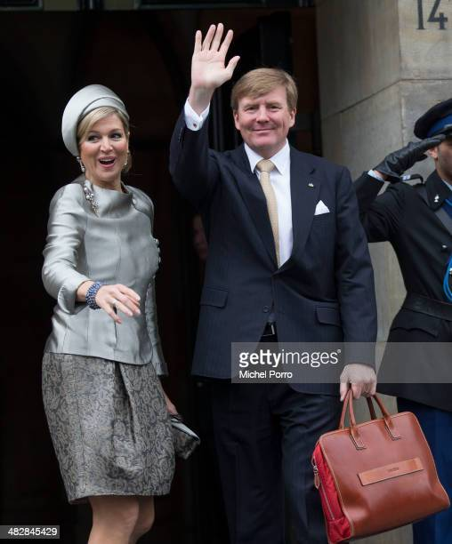 Queen Maxima of The Netherlands and King WillemAlexander of The Netherlands wave at the start of an official two day visit to Holland by King Carl...