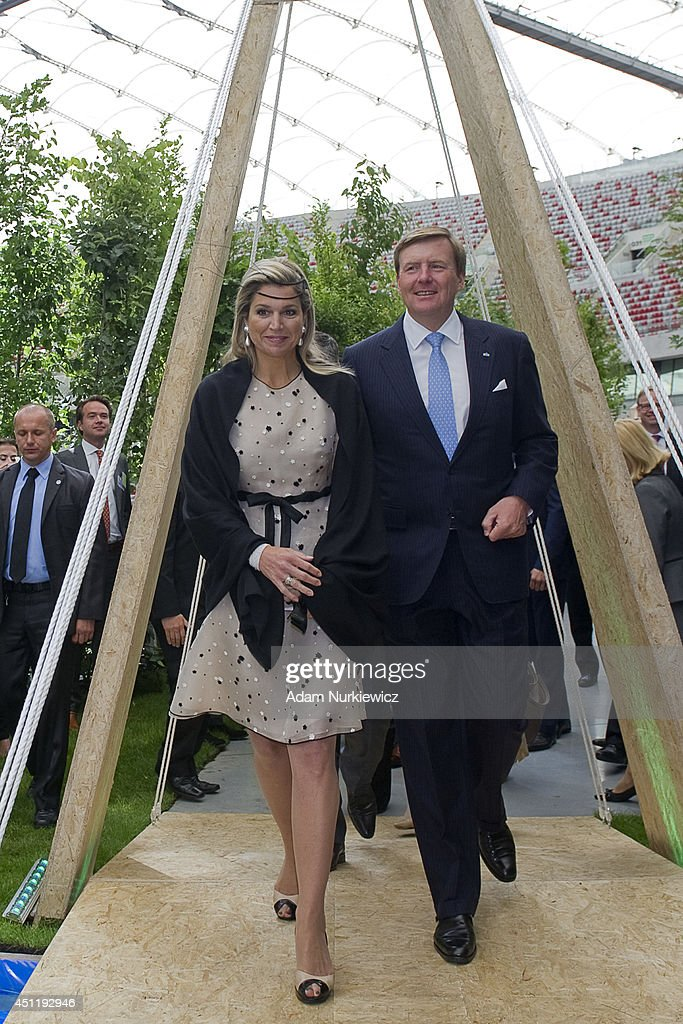Queen Maxima of The Netherlands (left) and King Willem-Alexander visit the Polish-Dutch Economic Forum 'Innovation: Solutions for a common future' at National Stadium as part of their trip to Poland on June 25, 2014 in Warsaw, Poland.