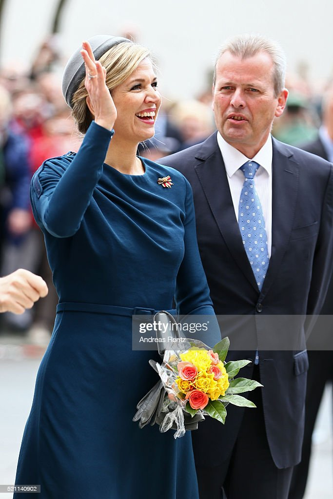 Queen Maxima of the Netherlands and Mayor of Nuremberg Ulrich Maly during their visit at 'Memorium Nuernberger Prozesse' on April 14, 2016 in Nuremberg, Germany. King Willem-Alexander and Queen Maxima are on a two-day visit in Bavaria to strengthen the relationship between Bavaria and the Netherlands.