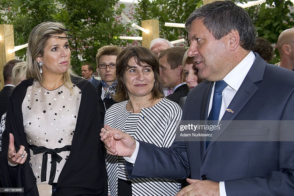 Queen Maxima of The Netherlands (left) and Mrs Lilianne Ploumen Dutch Minister for Trade and Development Cooperation and Polish Deputy Prime Minister Janusz Piechocinski while the Polish-Dutch Economic Forum 'Innovation: Solutions for a common future' at National Stadium as part of their trip to Poland on June 25, 2014 in Warsaw, Poland.