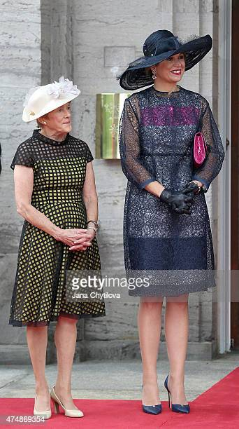 Queen Maxima of The Netherlands and Mrs Sharon Johnston wife of the Governor General of Canada at Rideau Hall for a Welcoming Ceremony with Military...