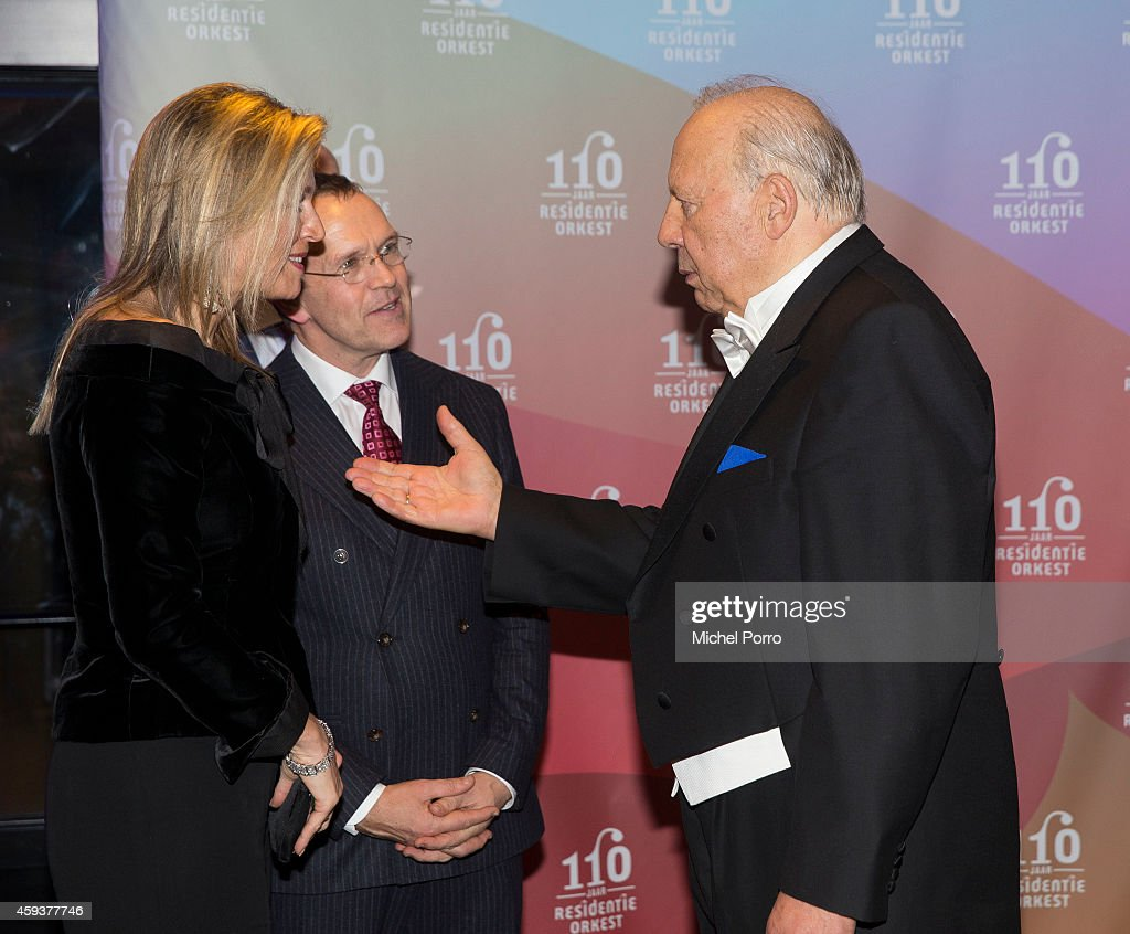 Queen Maxima of The Netherlands and Neeme Jarvi attend the Residentie Orkest (Orchestra) 110th Anniversary on November 21, 2014 in The Hague, The Netherlands.