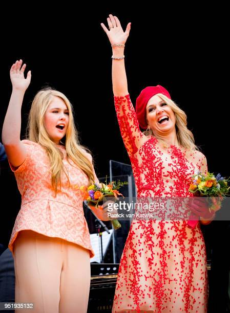 Queen Maxima of The Netherlands and Princess Amalia of The Netherlands attend the Kingsday celebration on April 27 2018 in Groningen Netherlands