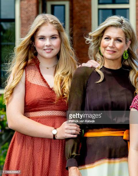 Queen Maxima of The Netherlands and Princess Amalia of The Netherlands during their annual summer photo session at Huis ten Bosch Palace on July 19...