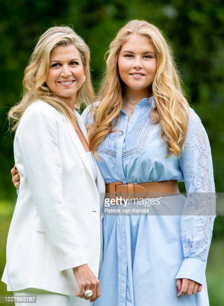 Queen Maxima of The Netherlands and Princess Amalia of The Netherlands during the annual summer photocall at their residence Palace Huis ten Bosch on...