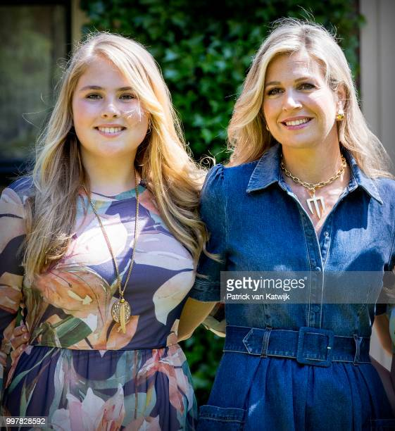 Queen Maxima of The Netherlands and Princess Amalia of The Netherlands on July 13, 2018 in Wassenaar, Netherlands.