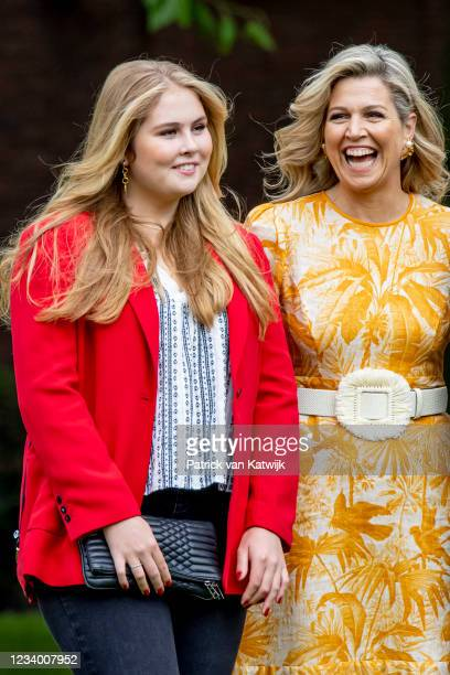 Queen Maxima of The Netherlands and Princess Amalia of The Netherlands pose for the media at Huis ten Bosch Palace on July 16, 2021 in The Hague,...