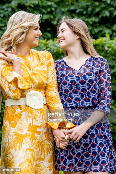 Queen Maxima of The Netherlands and Princess Ariane of The Netherlands pose for the media at Huis ten Bosch Palace on July 16, 2021 in The Hague,...