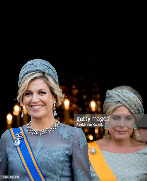 Queen Maxima of The Netherlands and Princess Laurentien of The Netherlands on the balcony of Palace Noordeinde during Prinsjesdag on September 19...