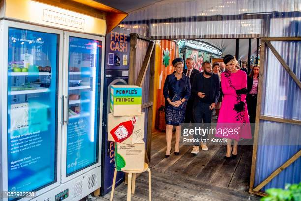 Queen Maxima of The Netherlands and Princess Sophie Countess of Wessex visit POP Brixton on October 24 2018 in London United Kingdom King...