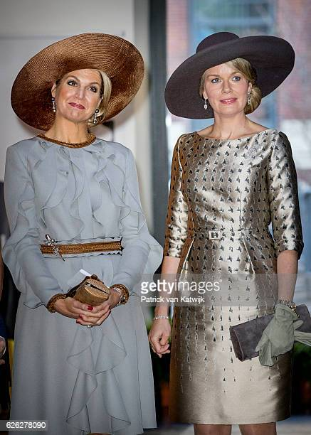 Queen Maxima of the Netherlands and Queen Mathilde of Belgium during their visit to the Flemish culture house Bakke Grond on November 28 2016 in...