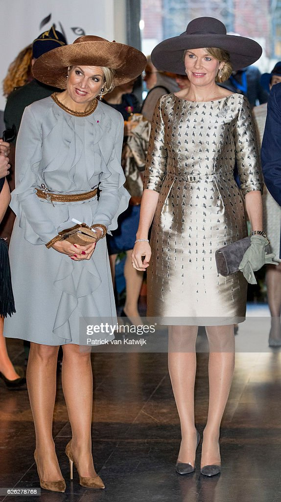 Queen Maxima of the Netherlands and Queen Mathilde of Belgium during their visit to the Flemish culture house Bakke Grond on November 28 2016 in Amsterdam, The Netherlands.