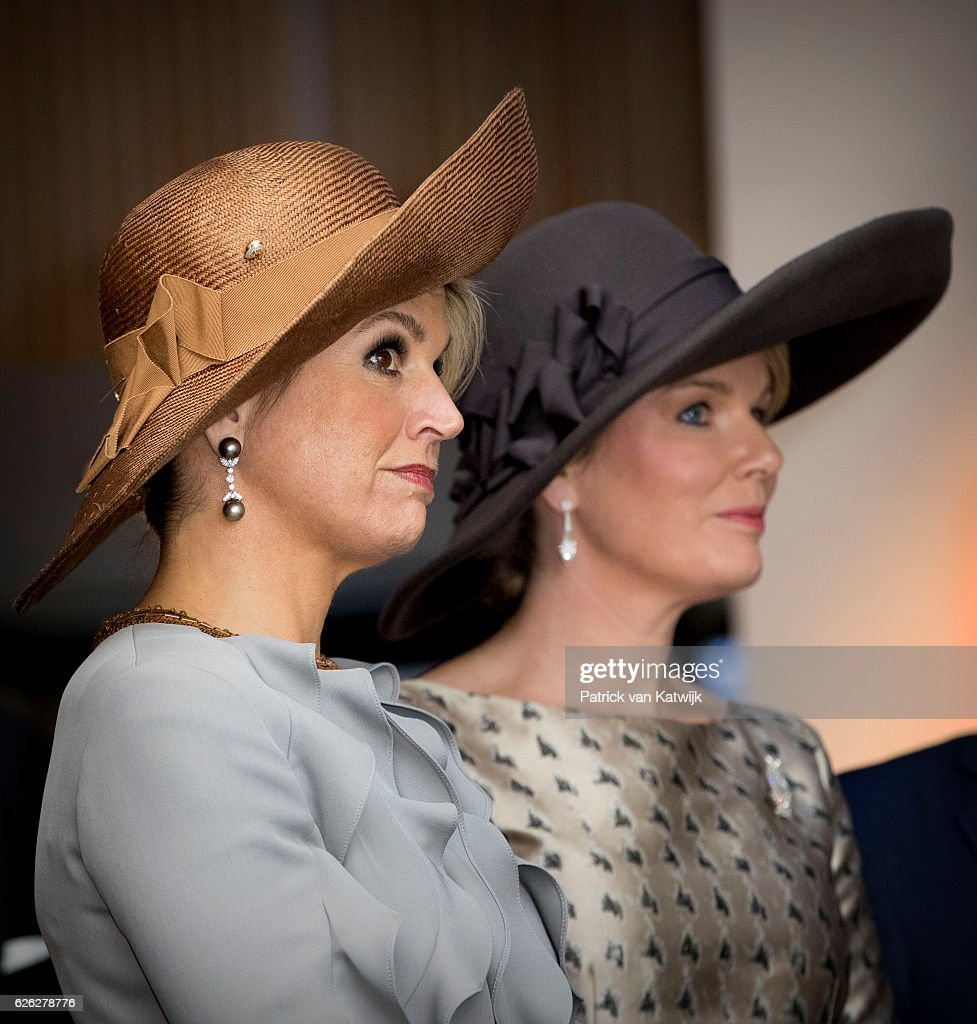 Queen Maxima of the Netherlands and Queen Mathilde of Belgium during their visit to the Flemish culture house Bakke Grond on 28 November 2016 in Amsterdam, The Netherlands.