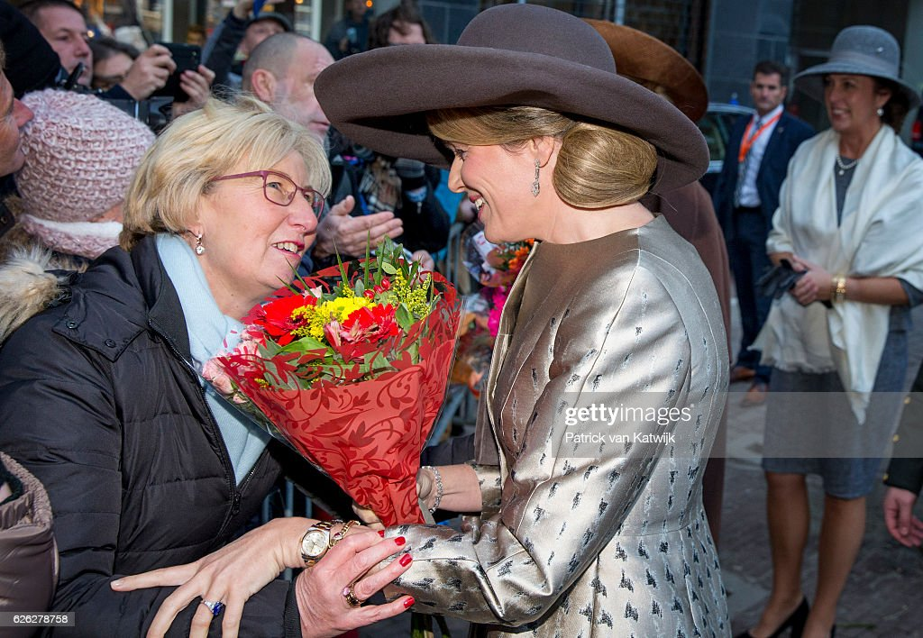 Queen Maxima of the Netherlands and Queen Mathilde of Belgium meet with wellwishers during their visit to the Flemish culture house Bakke Grond on November 28 2016 in Amsterdam, The Netherlands.
