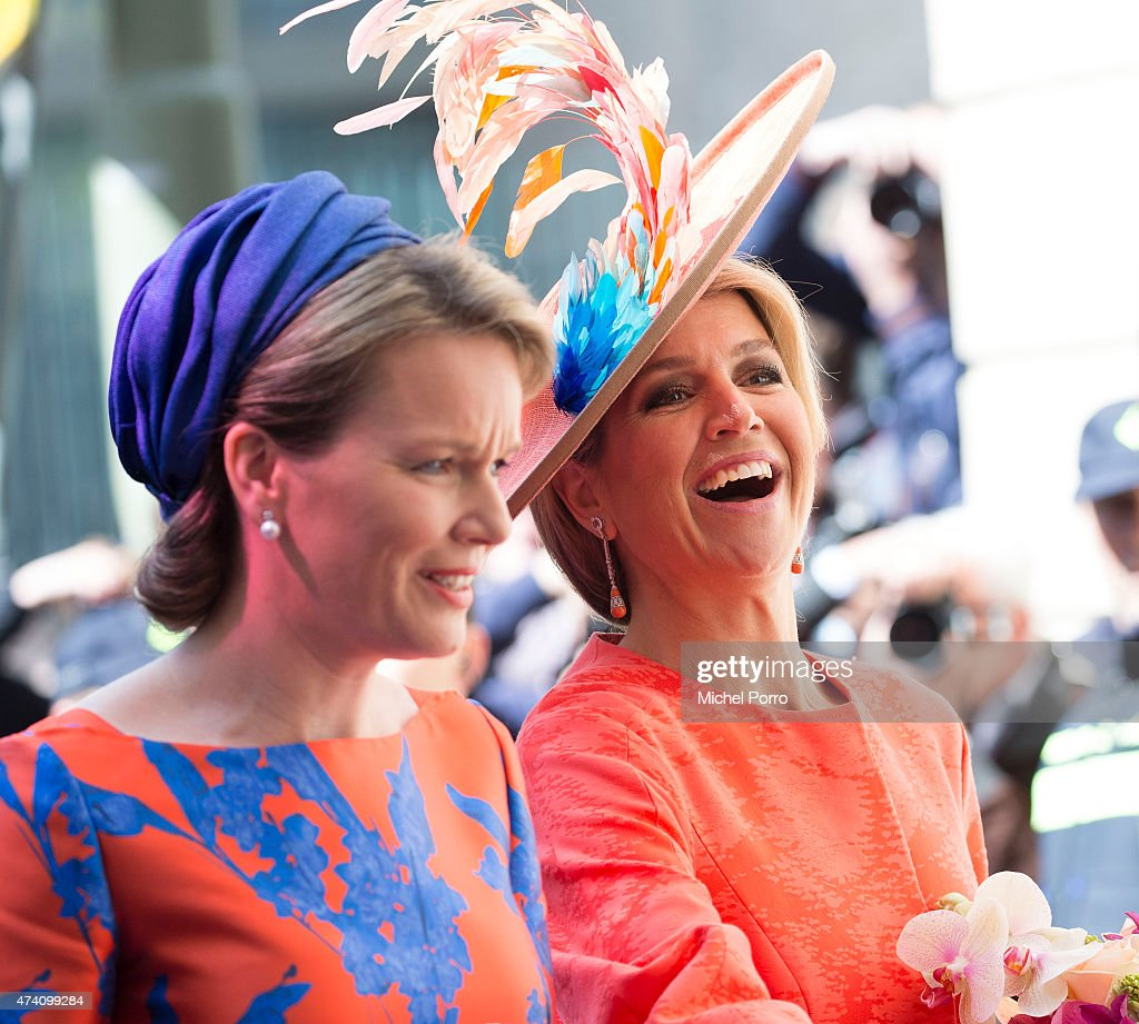 Queen Maxima of The Netherlands (R) and Queen Mathilde of Belgium open the sculpture exhibition Vormidable on May 20, 2015 in The Hague, Netherlands.