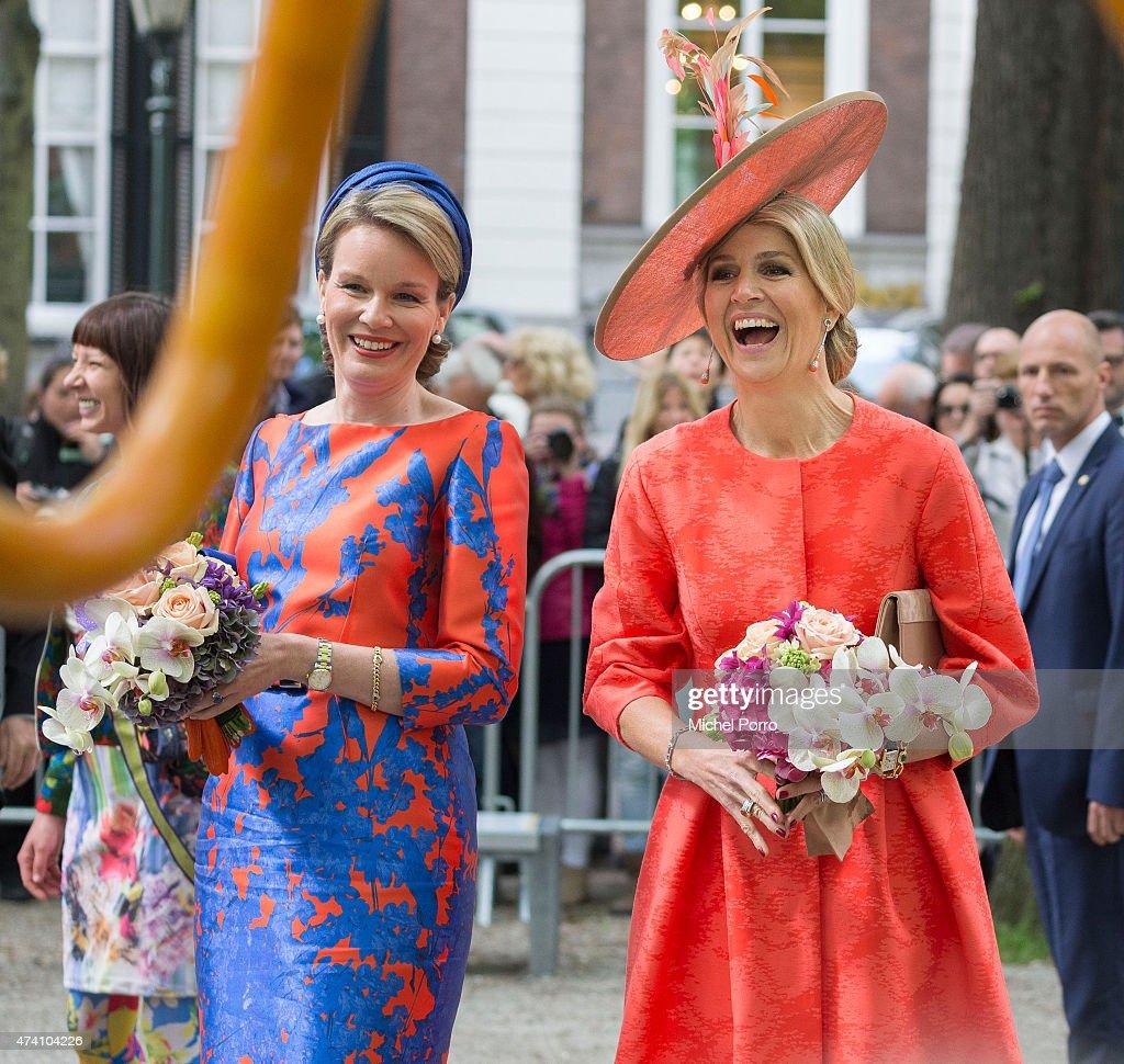 Queen Maxima of The Netherlands and Queen Mathilde of Belgium Open Sculpture Exhibition Vormidable : News Photo