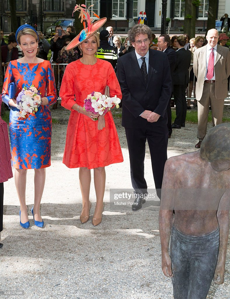 Queen Maxima of The Netherlands (R) and Queen Mathilde of Belgium open the sculpture exhibition Vormidable on May 20, 2015 in The Hague, Netherlands.