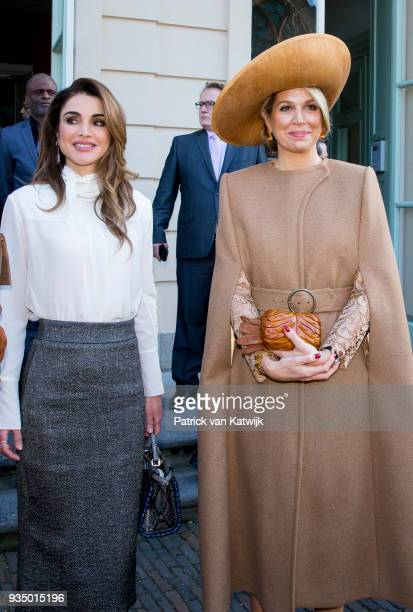 Queen Maxima of The Netherlands and Queen Rania of Jordan arrive at theater Diligentia for the World Class Students Q&A session on March 20, 2018 in...