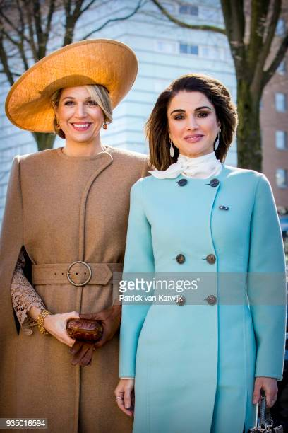 Queen Maxima of The Netherlands and Queen Rania of Jordan visit the Gemeentemuseum on March 20 2018 in The Hague Netherlands