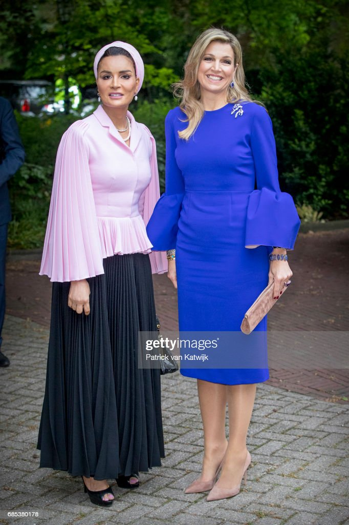 Queen Maxima of The Netherlands and Sheikha Moza bint Nasser of Qatar attend the Seminar On Protection & Education In Conflict Zones at the The Hague Institute for Global Justice on May 18, 2017 in The Hague, Netherlands.