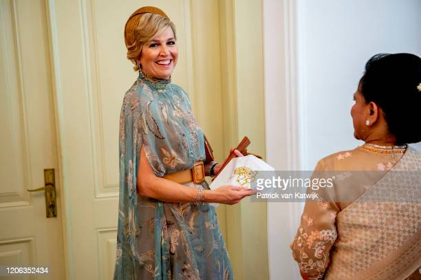 Queen Maxima of The Netherlands are welcomed by President Jcand his wife Iriana Widodo with an official welcome ceremony at the Presidential Palace...