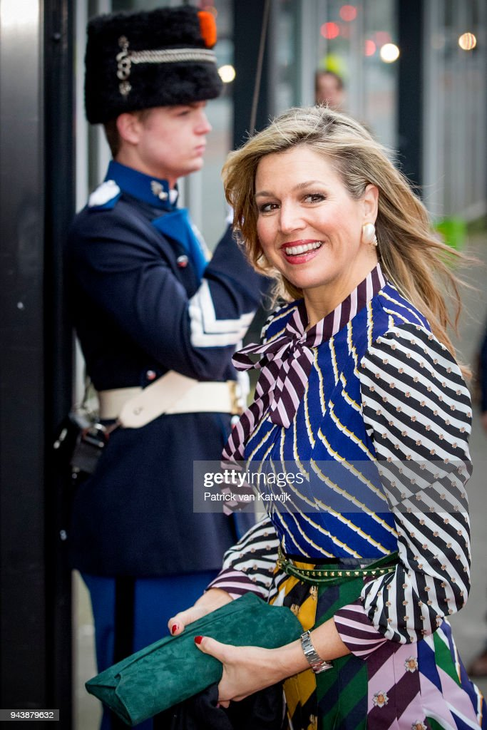 Queen Maxima of The Netherlands arrive at the Oosterpoort for the Kingsday concert on April 9, 2018 in Groningen, Netherlands.