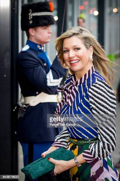 Queen Maxima of The Netherlands arrive at the Oosterpoort for the Kingsday concert on April 9 2018 in Groningen Netherlands